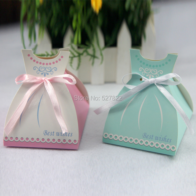 100pcs pink and bule wedding dress favor gift boxes party for Wedding dress shipping box