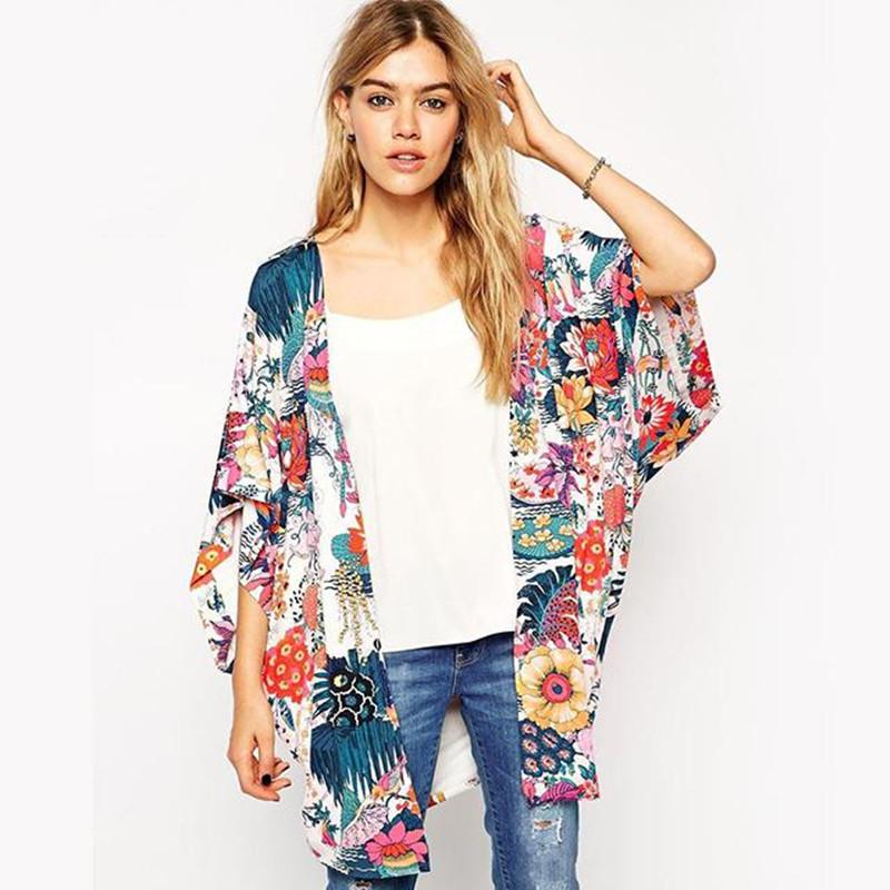 2016 spring Autumn Women floral kimono cardigan Short sleeve chiffon blouse Loose quimono flower print casual blouses - Very Charming Shop store