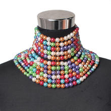 MANILAI Brand Imitation Pearl Statement Necklaces For Women Collar Beads Choker Necklace Wedding Dress Beaded Jewelry 2019(China)