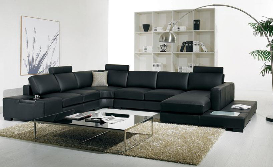 Black leather sofa Modern Large Size U Shaped Sofa Set with light, coffee table fashion simple corner Sofa Living Room Sofas(China (Mainland))