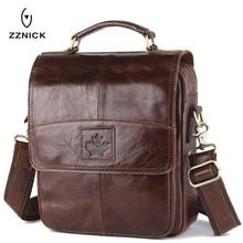Buy Genuine Cowhide Leather Crossbody Bags Fashion Men Messenger Bags Men's Shoulder Bag Zipper Men's Leather Bag Handbag Briefcase for $36.86 in AliExpress store