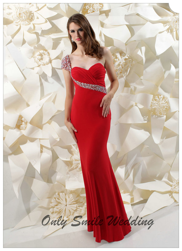 Zj3019 sexy sweetheart beaded one shoulder floor length for Mid length dresses for wedding guests