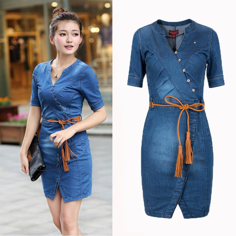 Denim wrap dress plus size « Clothing for large ladies
