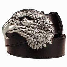 Buy Fashion New men's leather belt metal buckle hawk needle knot punk rock belts exaggerated Eagle Head design belt hip hop girdle for $9.17 in AliExpress store