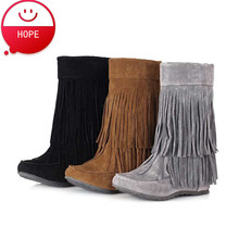 Plus Size34-47 2016 New Arrival Women Spring Autumn tassel Boots Fur  Women's Winter Warm Snow Boots SBT1714 Free shipping(China (Mainland))