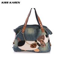 Casual Fashion Lovely Dog Trendy Design Denim Women Bag Popular Female Handbag Jeans Women Shoulder Bags Women's Tote Bags(China (Mainland))