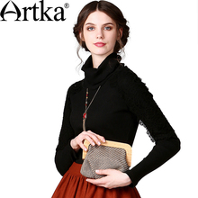 Buy Artka Women'S Autumn Vintage Hepburn Style Turtleneck Lace Patchwork Full Sleeve Rib Knitting Solid Slim T-Shirt ZA10545Q for $37.60 in AliExpress store