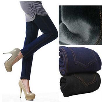 2015 Winter Leggings Women Thickening Warm Pants Fashion Fleeces Inside Denim Trousers Footless Leggings With Pockets LG-173