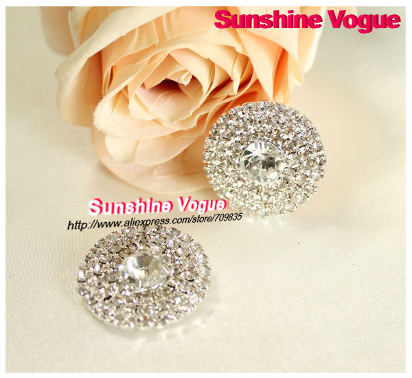 Flatback button, 3row rhinestone button 28mm diameter 50pcs/lot DIY use for gift/bag/belt/shoes/hair jewelry(China (Mainland))