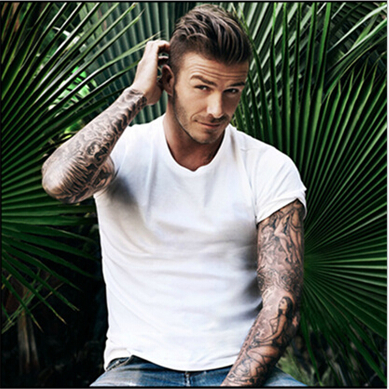 Beckham solid color round neck T-shirt men short sleeve summer cotton shirt Slim t shirt fitness tops tee Beckham tshirt for men(China (Mainland))