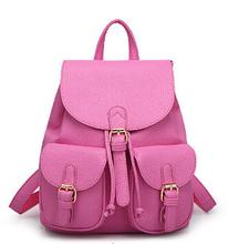 2016 New Women Leather Backpacks Bolsas Mochila Feminina Large Girls Schoolbag Travel Bag Solid Candy Color Black Pink Beige(China (Mainland))