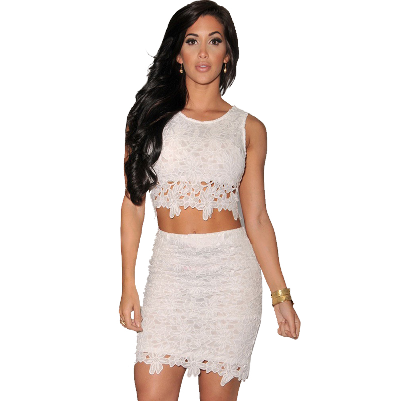 2016 Two-pieces Black White Orange Sexy Womens Pencil Mini Skirts and Tops Crochet Lace Set Clubwear Plus Size XL Valentine Gift