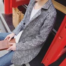 2016 Fashion spring Mens Jackets And Coats Japanese Style Two Button Autumn Mens Causal Linen Long Trench Coat K648(China (Mainland))
