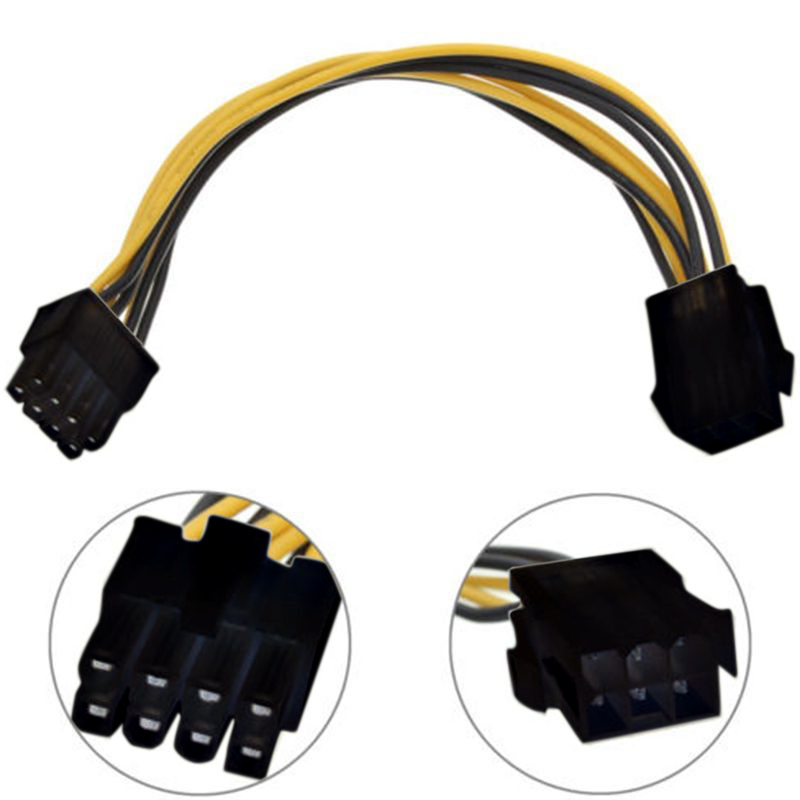 1PC 6 Pin Feamle to 8 Pin Male PCI Express Power Converter Cable CPU Video Graphics Card 6Pin to 8Pin PCIE Power Cable(China (Mainland))
