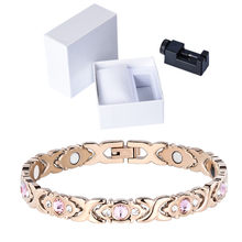 LITTLE FROG Crystal Gem Woman Magnetic Bracelet Health Energy Gold Fashion Jewelry Lady Stainless Steel Bracelets Bangles(China)