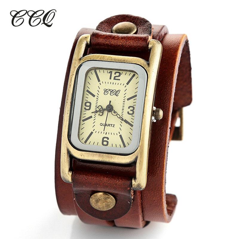 Buy Antique Designer Rectangular Men Watch Fashion Vintage Clock Leather Watch