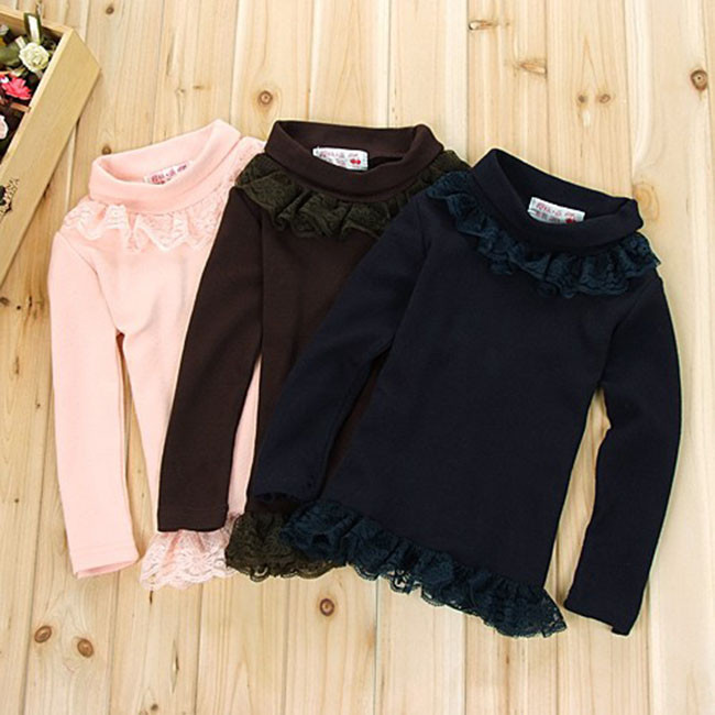 Free Shipping 2017 Top Spring Winter Girls Blouse Kids Toddler Princess Long Sleeve Lace Blusa Casual Shirts Ages 2-7Yrs