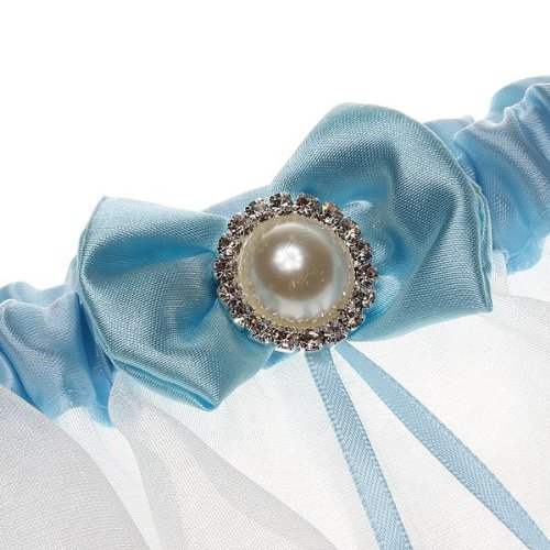 Bridal Wedding Garters Satin Lace Bowknot Pearl Ruffles Blue