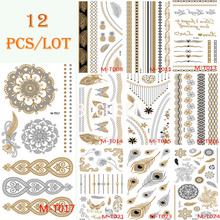 12 Sheets Lot 21x10cm Tattoo Stickers Body Art Temporary Tattoo Kit Waterproof Glitter Silver Gold Feather Tattoos Set BMTLOT2(China (Mainland))