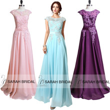 Coral Chiffon Cap Sleeve Prom Dresses Long A-Line Sheer Neckline Party Gowns With Beading Crystal vestidos de fiesta largo 2015(China (Mainland))