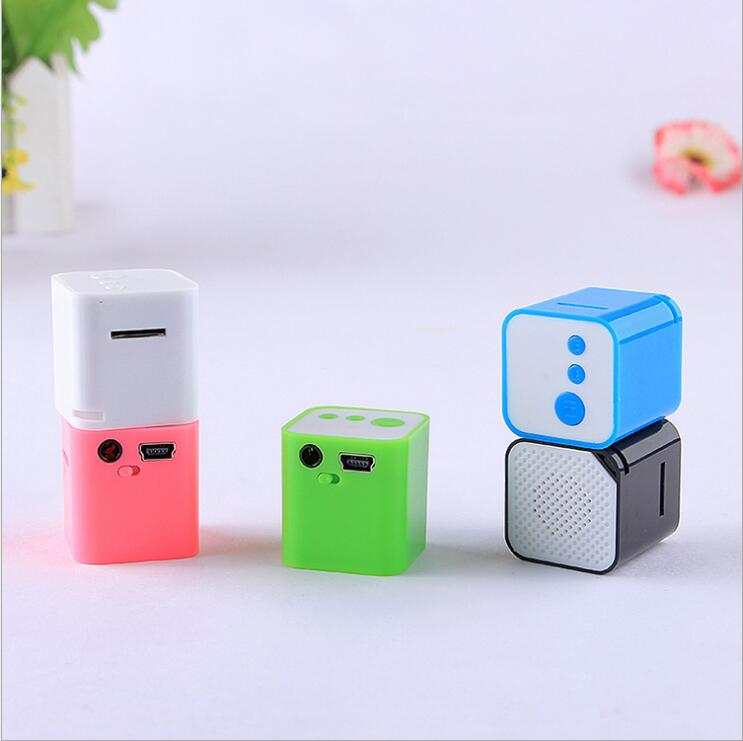 Cube Mini MP3 Player Bulit in Speaker With Memory Card Slot Portable Card Reader mp3 player(China (Mainland))