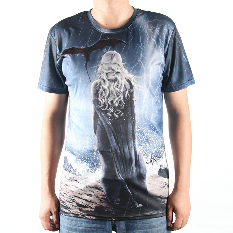Fashion New T Shirts Game Of Thrones 3D Tshirts Men O Neck Top Tees Casual Man Clothing Winter Is Coming Design T-shirts Print(China (Mainland))