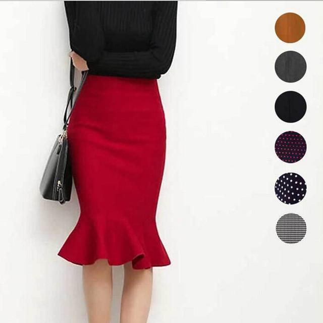 2016 новый горячий продажа женская весна осень эластичный высокой талией оборками юбки женщина хип труба юбка 9 цветов