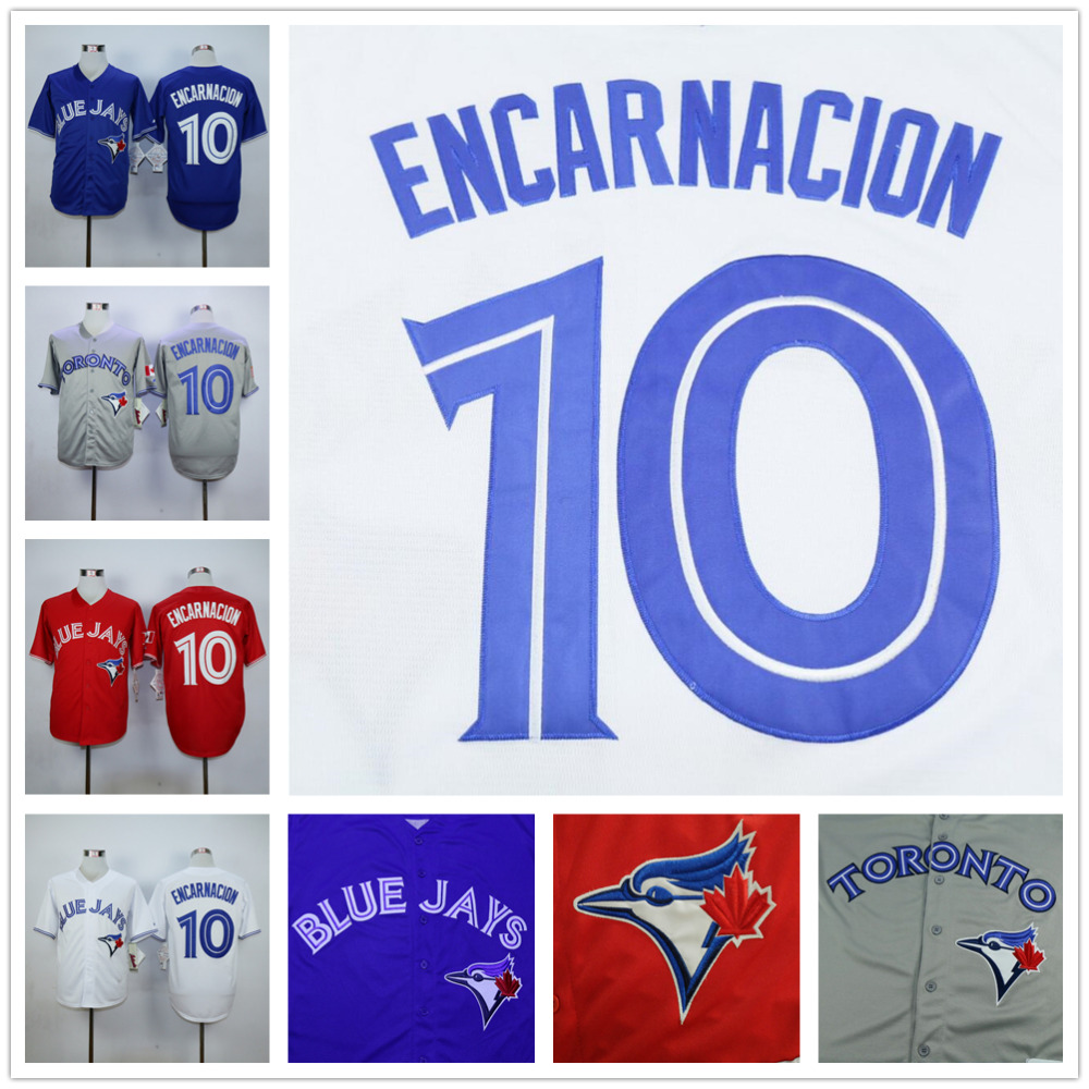 Edwin Encarnacion Jersey, Cheap Toronto Blue Jays 10# Baseball Jersey, High Quality Stitched Blue Gray Red White(China (Mainland))