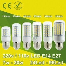 7 W ~ 30 W 5730 SMD LED maïs lumière Ampoule LED E27 E14 lampe LED 110 V 220 V lustre bougie Spot Lampada LED Bombillas Ampoule LED 15 W(China (Mainland))