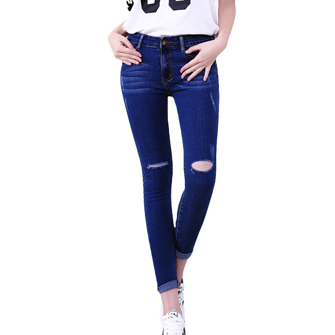 Plus size S-5XL Women Jeans 2016 Female Denim Strench Jeans Trousers Blue Skinny Hole Ripped Pencil Pants Femme American apparel(China (Mainland))