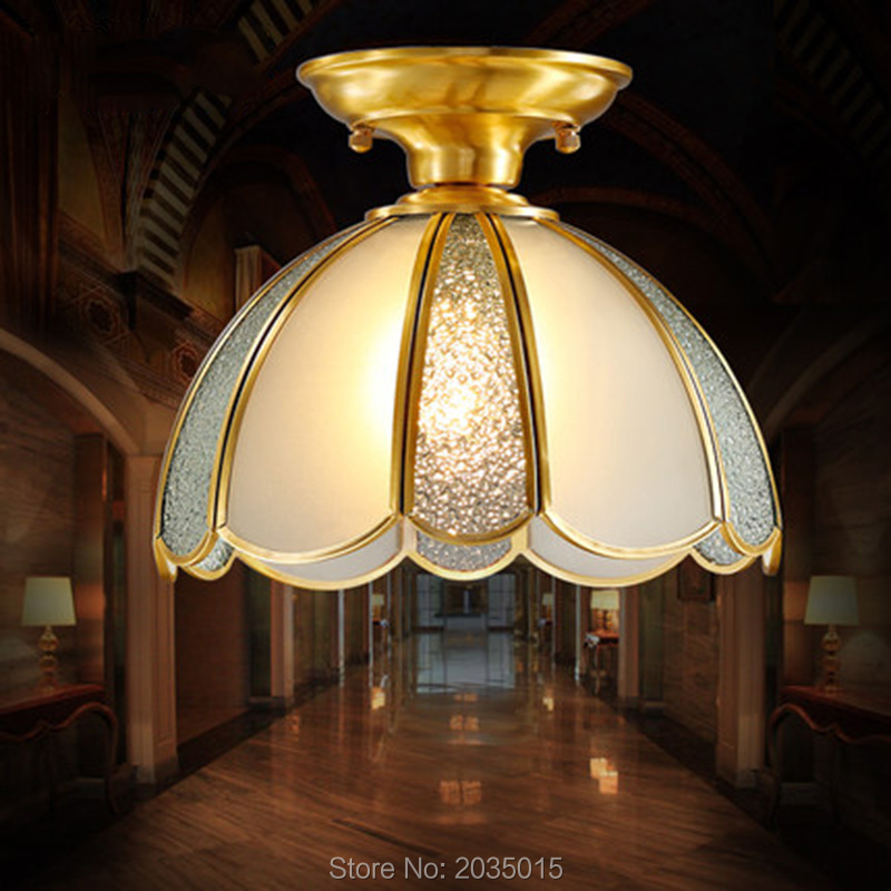 European Modern Style Copper Lamps Ceiling Lights For aisle Hallway Balcony Bedroom Porch American Style Light Fixtures 1696(China (Mainland))