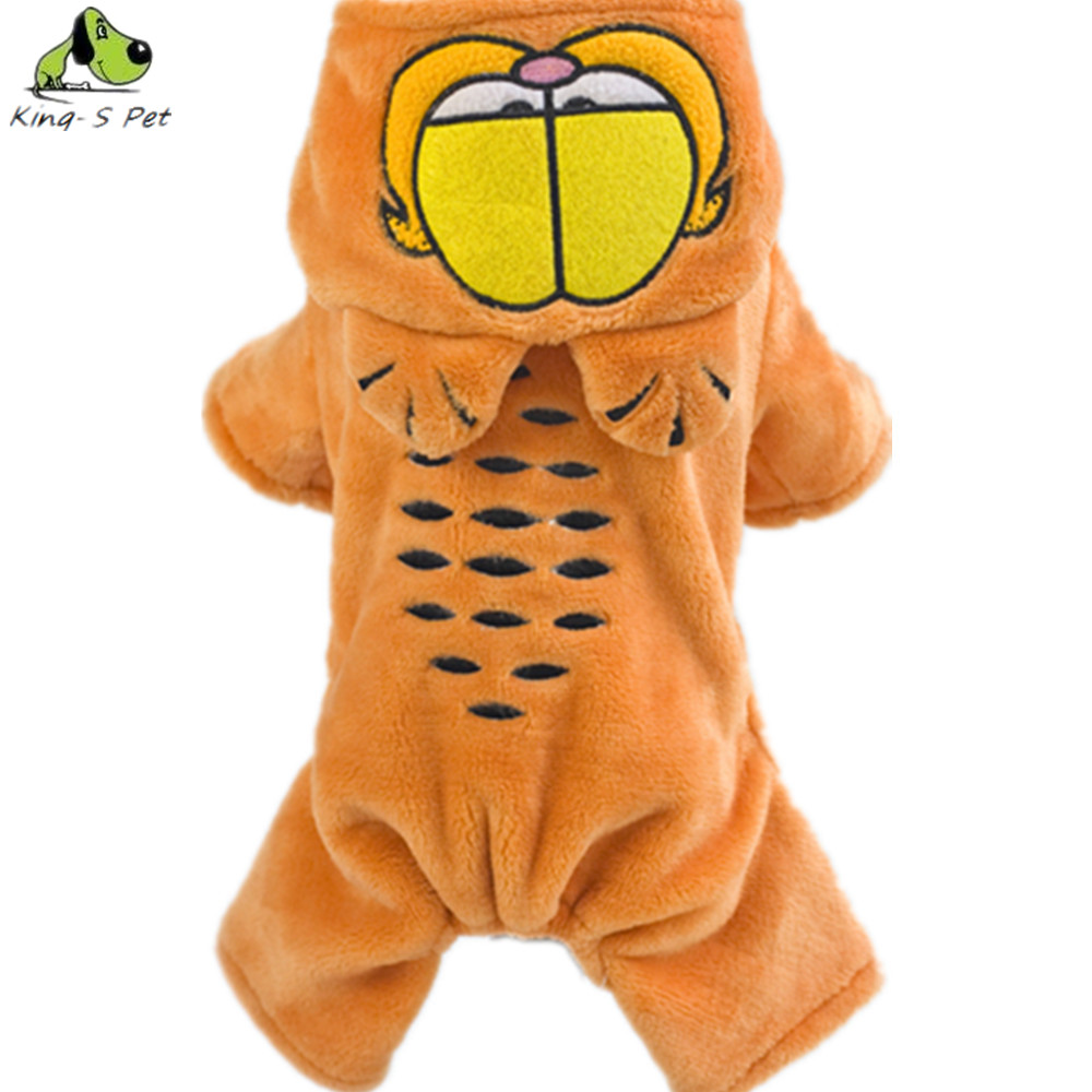 Fashion Cotton Pet Cat Dog Costume Winter Warm Tiger Coat Jackets Small Four Leg Orange Sportwear Jumpsuit Clothes For Dogs(China (Mainland))