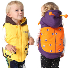 Retail! Top Quality Brand Baby Boys Girls Vest Fashion Cartoon beetle Style Thicking Cotton Jacket Winter Kids Hooded Waistcoat(China (Mainland))