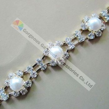 (free Express shipping) 10meters/lot, Czech crystal rhinestone pearl chain in Gold setting Used for Browbands or Decoration