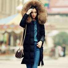 20cm Width Large Real Raccoon Fur 2016 Winter Jacket Coats Women's Parkas Duck Down Jacket Loose Clothing Outwear For Female