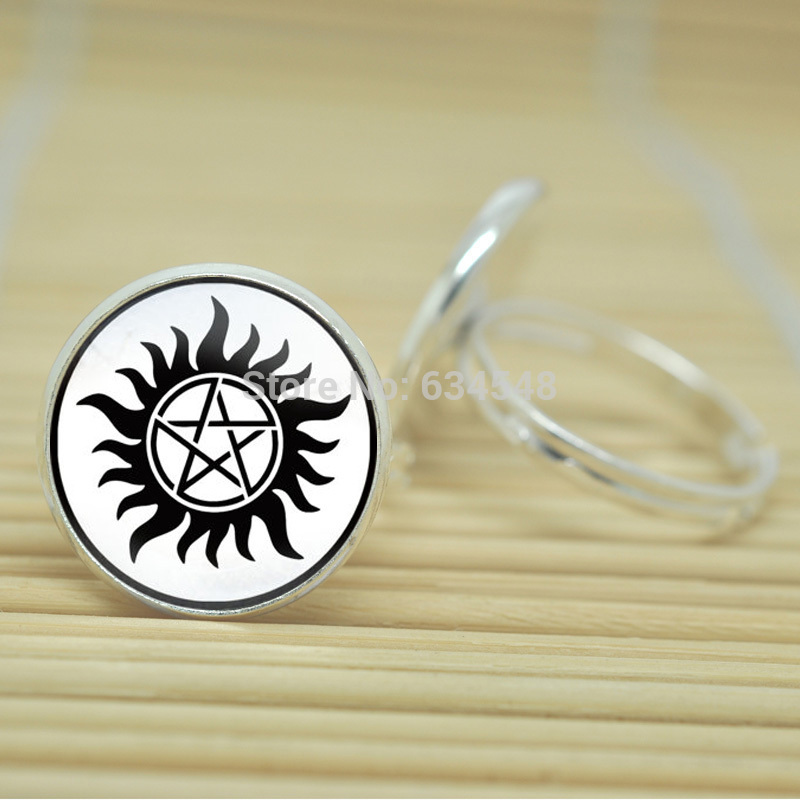 10pcs Supernatural Sam Dean Winchester jewelry glass Cabochon Adjustable Rings D4035(China (Mainland))