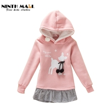 Children Hoodies Girls Long Thick With Fleece Sweatshirt Girl Christmas Deer Printed Coat Kids Casual Outwear Baby Clothing TW02(China (Mainland))