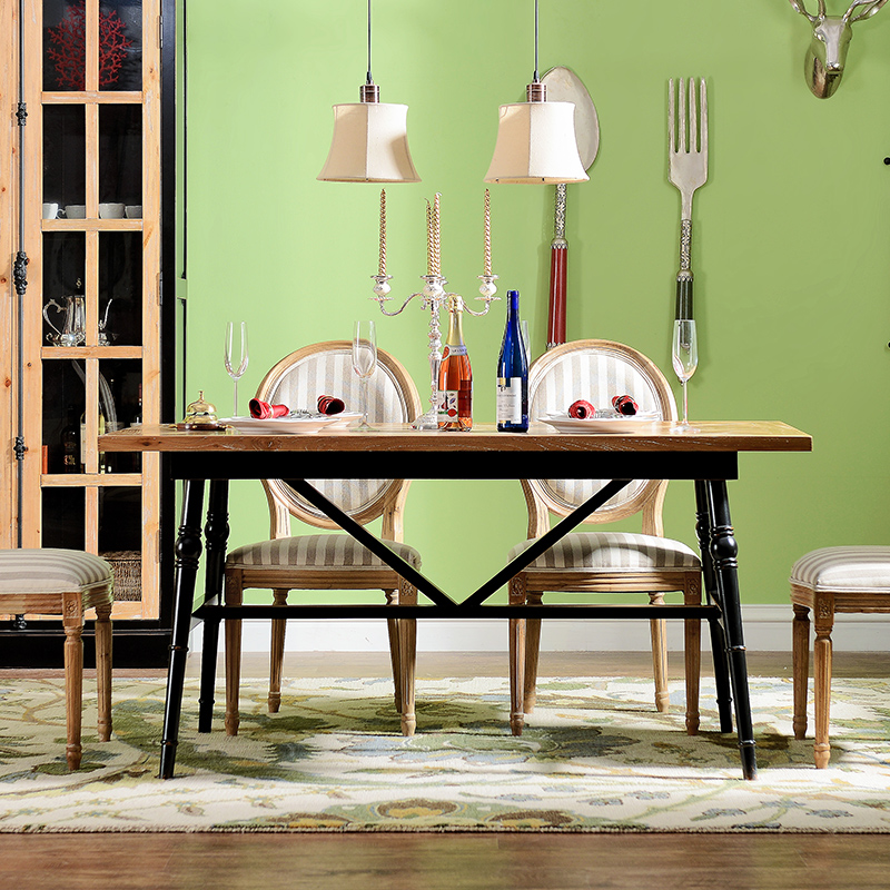 Odd ranks yield US Luo Linka elm wood furniture French country restaurant Western rectangular table and book(China (Mainland))