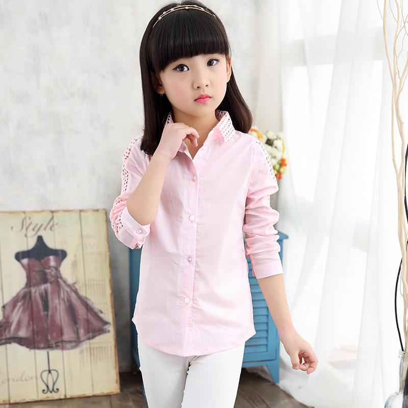 Girls long-sleeved shirt Spring 2016 new childrens clothing spring big virgin white shirt shirt female children<br><br>Aliexpress