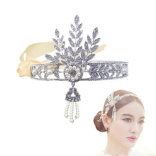 New Wedding Bridal Great Gatsby Charleston 1920s Vintage Pearls Headpiece Headband(China (Mainland))