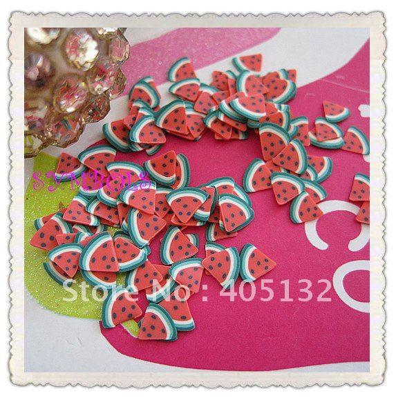 a-04 Free Shipping 2000pcs 3D 5mm Cut Watermelon Polymer Clay Sticker Fancy Nail Art Polymer Clay(China (Mainland))