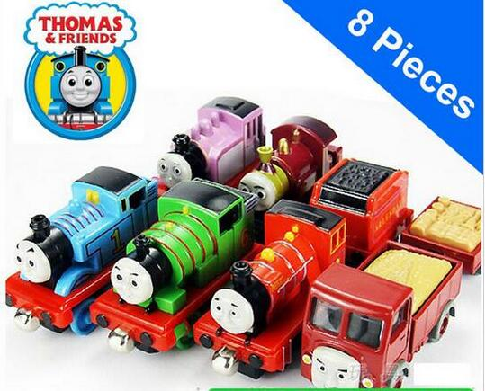 8 pcs/set Thomas and His Friends Wooden Trains Model Toy Magnetic Train Great Kids Christmas Toys Gifts for Children Boys Girls(China (Mainland))