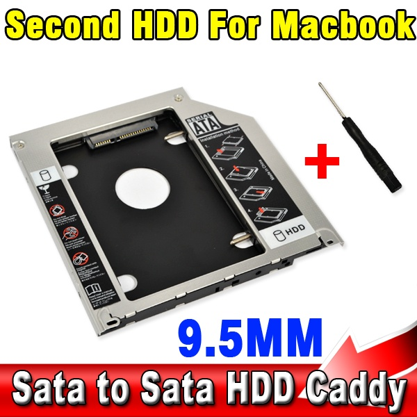 """9.5mm Second HDD Caddy 2nd SATA 2.5"""" Hard Disk Drive SSD Enclosure for Apple Macbook Pro A1278 A1286 A1297 CD ROM Optical Bay(China (Mainland))"""