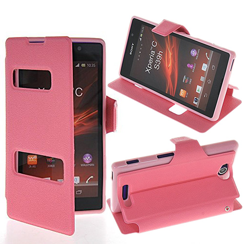 product Newly Listed Deluxe 6 Colors PU Leather Flip Bracket Dual View Window Mobile Phone Bags & Cases for Sony Xperia C C2305 S39h