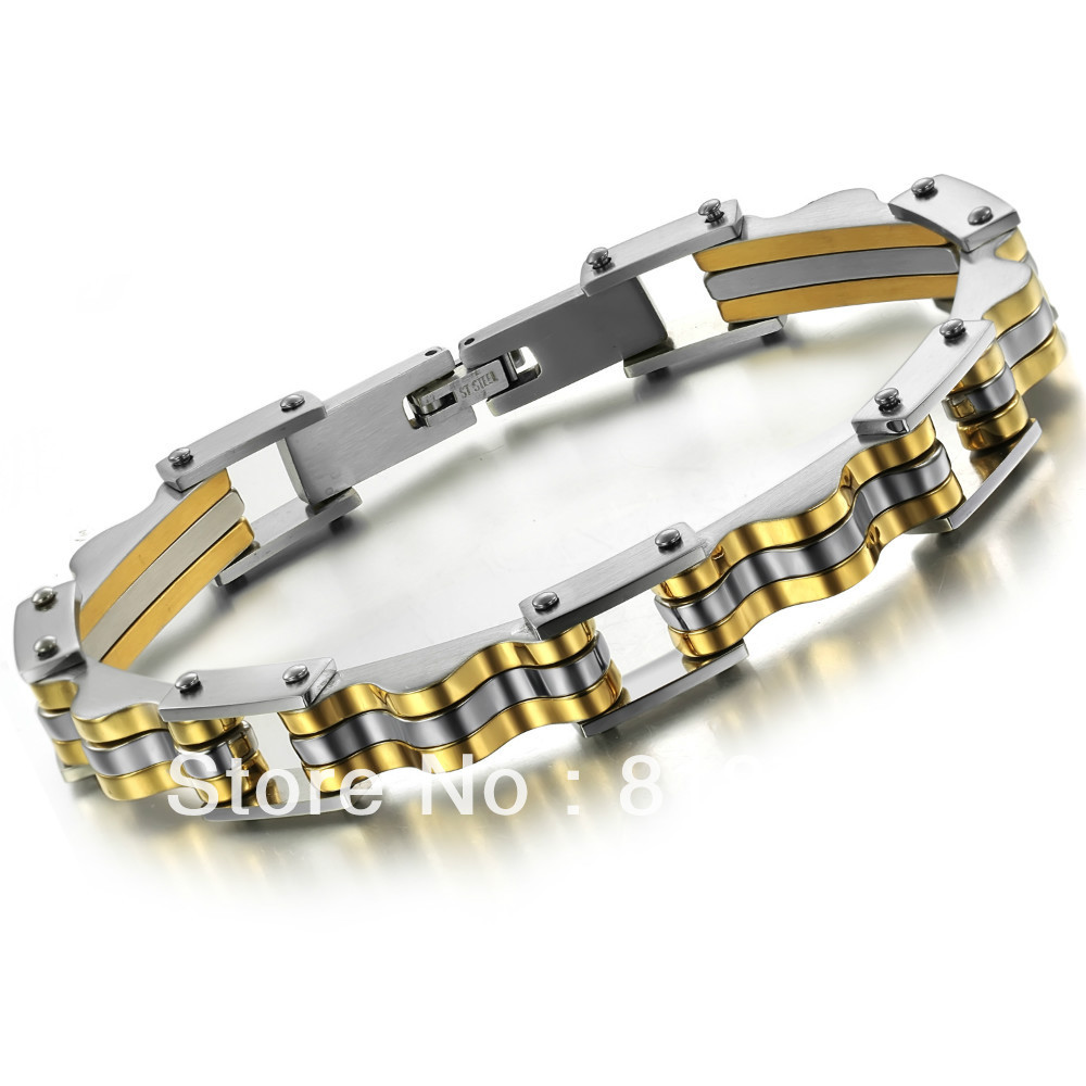 Custome made stainless steel friendship bracelet plated gold GS623(China (Mainland))