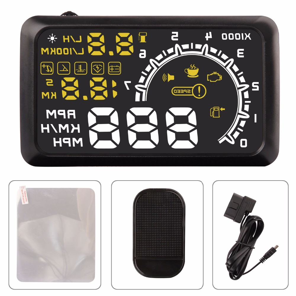 Hot Car Head Up Display HUD Projector 5.5 Inch OBDII OBD 2 Interface KM/h MPH Speeding Warning Alarm System for Ford Toyota(China (Mainland))