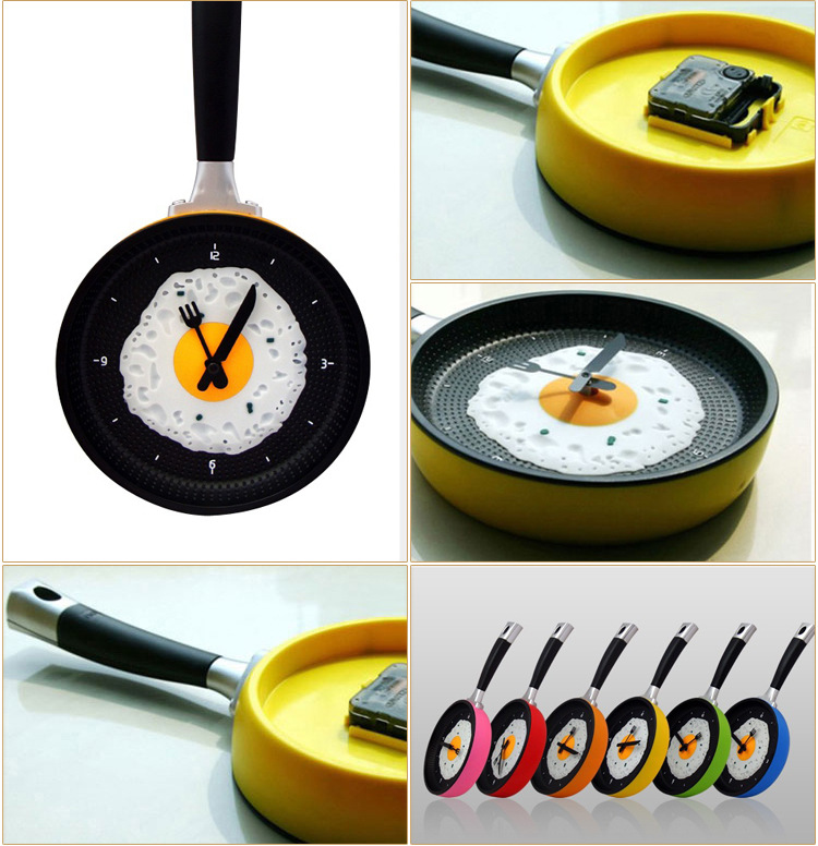 2016 New 1 piece Hot sales Creative Omelette Fry Pan Kitchen Fried Egg Design Wall Clock Decor(China (Mainland))