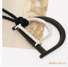 Promotion Black Rope Chain Double Letter D Long Sweater Necklace D7R9(China (Mainland))