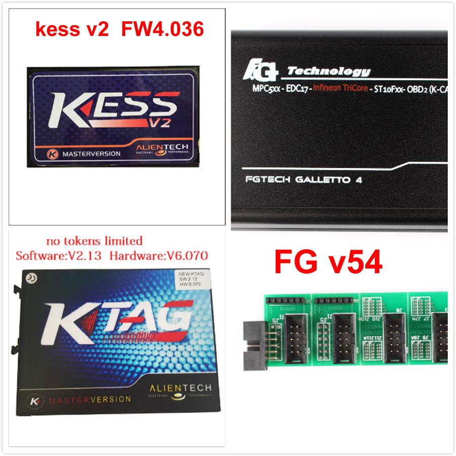 DHL Fast ship kess v2 V2.15 V4.036+KTAG K-TAG V2.13 V6.070+FG tech V54 ECU Programming Tool ECU Chip Turning no token limited(China (Mainland))