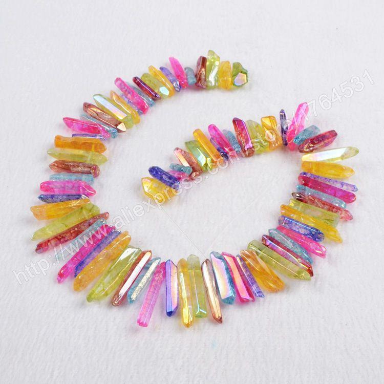 1 Strand of Multi-Color Cluster Aura Quartz Titanium Crystal Point Loose Beads color mixed natural crystal quartz beads  G0349